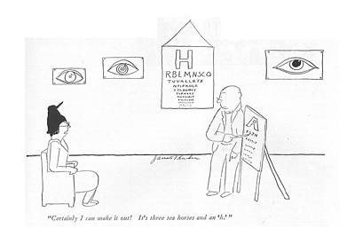 Eye Chart Drawing - Certainly I Can Make It Out! It's Three Sea by James Thurber
