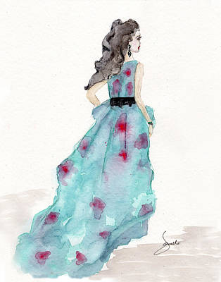 Cerulean Blue Fashion Sketch Dress Art Print