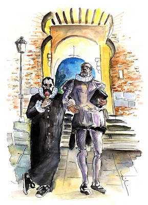Impressionism Drawings - Cervantes and El Greco in Toledo by Miki De Goodaboom