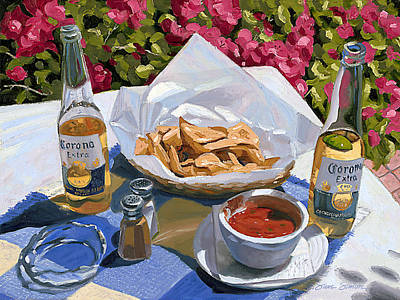 Beer Royalty-Free and Rights-Managed Images - Cervezas y Nachos - Coronas with Nachos by Steve Simon