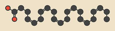 3 Fish Photograph - Cervonic Acid Molecule by Molekuul