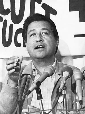 Cesar Chavez Announces Boycott Print by Underwood Archives