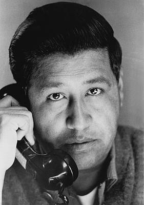 Chicano Photograph - Cesar Chavez On The Phone by Underwood Archives