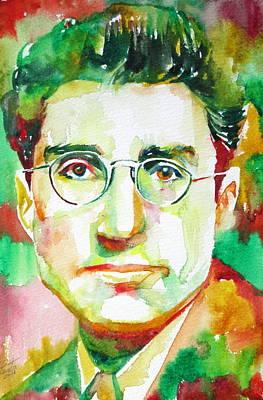 Cesare Painting - Cesare Pavese / Watercolor Portrait by Fabrizio Cassetta