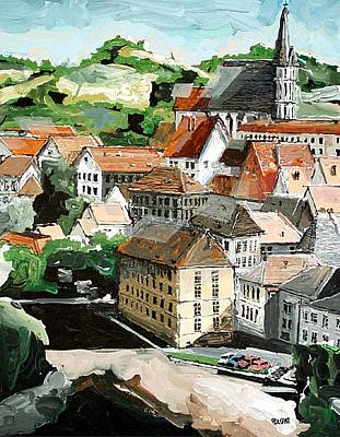 Cesky Krumlov Painting - Cesky Krumlov Czechoslovakia by Paul Guyer