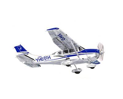 Aviation Drawing - Cessna 206 Climbing by Jack Pumphrey