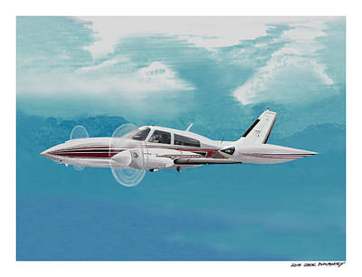 Painting - Cessna 310 Twin Engine by Jack Pumphrey