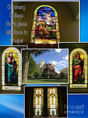 Photograph - Cetenary College Stained Glass Windows In Chapel by Becky Lupe