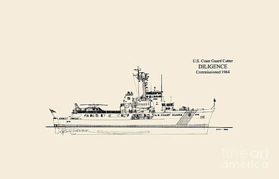Coast Guard Drawing - C G C  Diligence  by Jerry McElroy - Public Domain Image