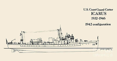 Uscg Drawing - Cgc Icarus by Jerry McElroy - Public Domain Image