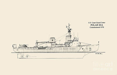 Uscg Drawing - Cgc Polar Sea by Jerry McElroy - Public Domain Image