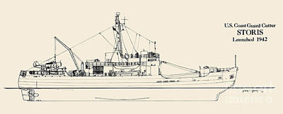 Uscg Drawing - C G C  Storis by Jerry McElroy - Public Domain Image