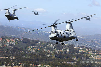 Fantasy Royalty-Free and Rights-Managed Images - Ch-46e Sea Knight Helicopters Fly by Stocktrek Images