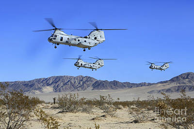 Fantasy Royalty-Free and Rights-Managed Images - Ch-46e Sea Knight Transport Helicopters by Stocktrek Images