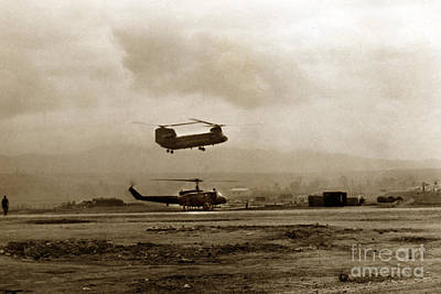 Photograph - Ch 47 Chinook Helicopter Camp Enari Near Pleiku Vietnam 1968 by California Views Archives Mr Pat Hathaway Archives