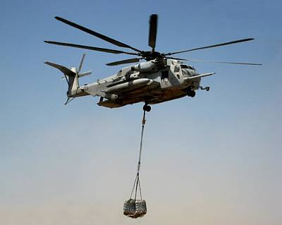 Helicopter Photograph - Ch-53 Carrying Cargo Load In Afghanistan by Jetson Nguyen