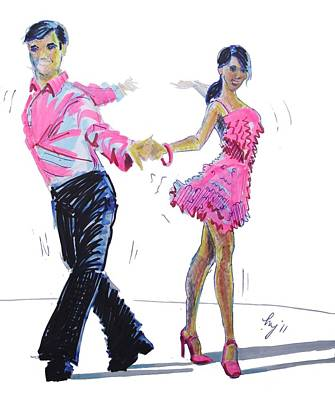 Drawing - Cha Cha Dancers by Mike Jory
