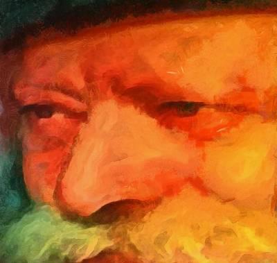 Painting - Chabad Lubavitch Rebbe Rabbi Menachem Schneerson Painting By Mendy Portrait Famous Figure by MendyZ