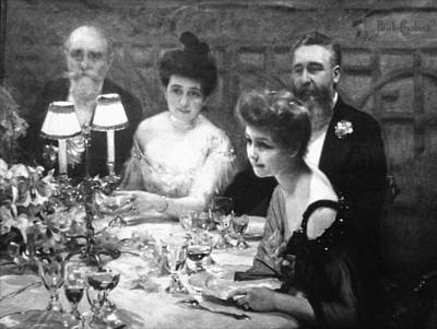 Glass Of Wine Painting - Chabas Table, 1904 by Granger