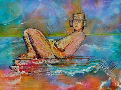 Chichen Itza Painting - Chacmool Of The Lava Lounge by Terri Ana Stokes