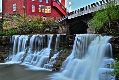 Photograph - Chagrin Falls At Night by Frozen in Time Fine Art Photography