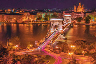 Street Lamps Digital Art - Chain Bridge by Ayse Deniz