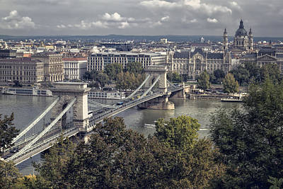 Budapest Attractions Photograph - Chain Bridge Gresham Palace And Basilica by Joan Carroll