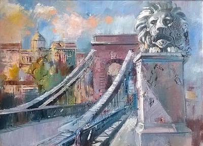 Albert Bierstadt - Chain bridge in Budapest by Lorand Sipos