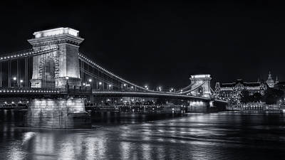 Budapest Attractions Photograph - Chain Bridge Night Bw by Joan Carroll