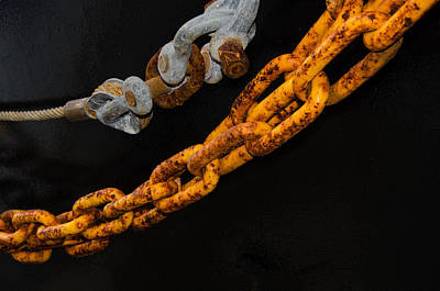 Photograph - Rusted Chain Abstract by James Hammond