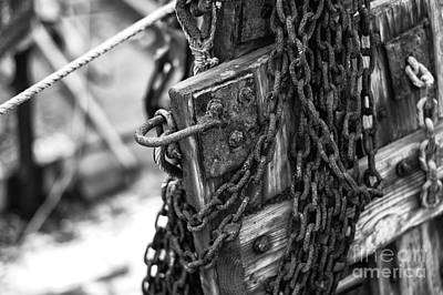 Photograph - Chains On The Dock Mono by John Rizzuto