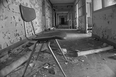 Abandoned Insane Asylum Photograph - Chair In Abandoned Building by John McGraw
