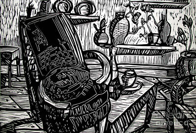 Lino Drawing - Chair Of My Dream Final Stage  by Charlie Spear
