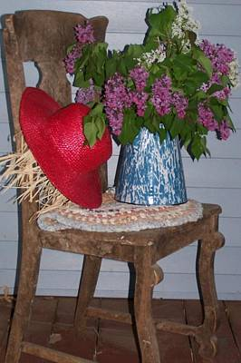 Chair With Red Hat Print by Kathleen Luther