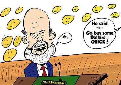 Fed Mixed Media - Chairman Bernanke Editorial Comic by OptionsClick BlogArt