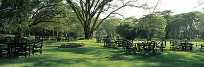 Chairs And Tables In A Lawn, Lake Art Print by Panoramic Images