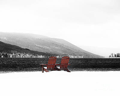 Chairs At Canandaigua Lake 2011 Print by Joseph Duba