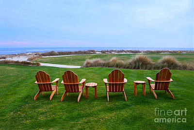 Sports Royalty-Free and Rights-Managed Images - Chairs at the Eighteenth Hole by Catherine Sherman