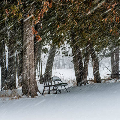 Chairs In A Blizzard Art Print by Paul Freidlund