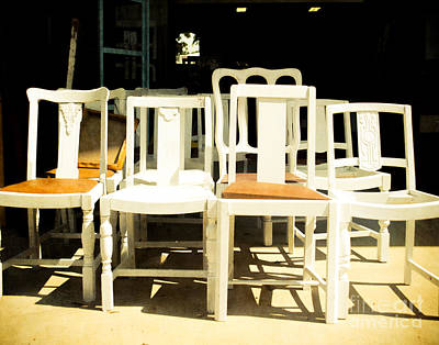 Ladder Back Chairs Photograph - Chairs In White by Sonja Quintero