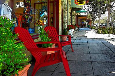 Digital Art - Chairs On A Sidewalk by James Eddy