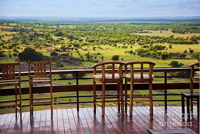 Hotel Photograph - Chairs On Terrace. Savanna Landscape In Serengeti. Tanzania. Africa by Michal Bednarek