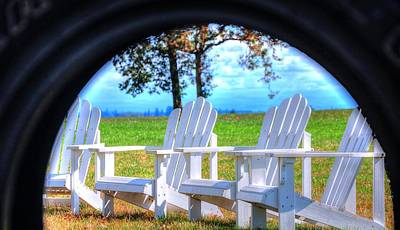 Photograph - Chairs Through The Swing 19091 by Jerry Sodorff