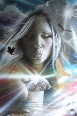 Rainbow Fantasy Art Painting - Portrait - ' Chakra ' by Christian Chapman Art