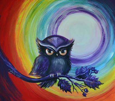 Art Print featuring the painting Chakra Meditation With Owl by Agata Lindquist