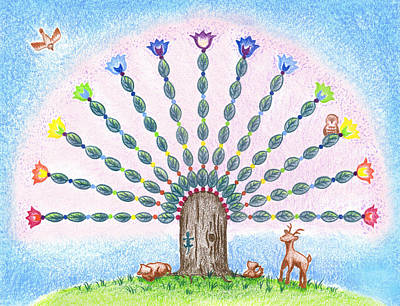 Art Print featuring the drawing Chakra Tree by Keiko Katsuta