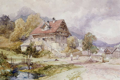Swiss Drawing - Chalet, Brunnen, Lake Lucerne by James Duffield Harding