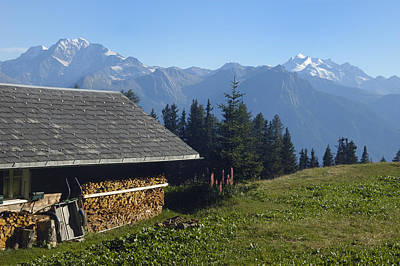 Photograph - Chalet In The Swiss Alps Bettmeralp Switzerland by Matthias Hauser