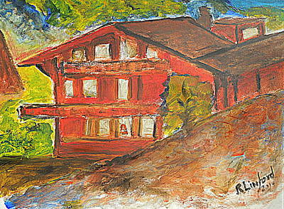 Forecast Painting - Chalet Wengen Switzerland 1 by Richard W Linford