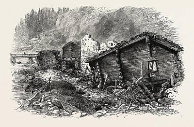 Switzerland Drawing - Chalets In Ruins, Switzerland by Swiss School